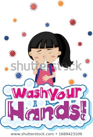 Coronavirus theme with sick girl coughing Stock photo © bluering