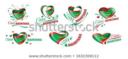 National flag of the Mauritania in the shape of a heart and the inscription I love Mauritania. Vecto Stock photo © butenkow