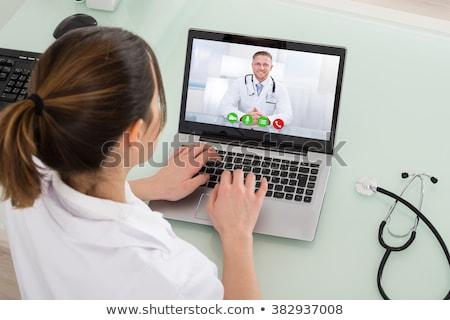 Orvosi orvos online online oktatás videó konferencia Stock fotó © AndreyPopov