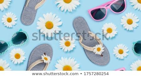 Kamilla virág napszemüveg papucs végtelenített textúra Stock fotó © karandaev