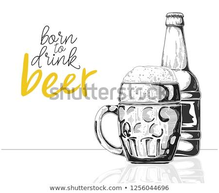 Rajz üveg sör szöveg született ital Stock fotó © Arkadivna