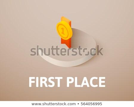 Nyerő érem első hely izometrikus ikon Stock fotó © pikepicture