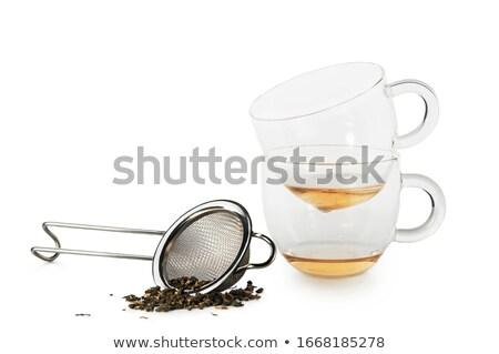 2 ガラス カップ 鋼 ティーポット 表 ストックフォト © Ansonstock