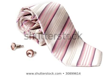 nyakkendő · mandzsetta · linkek · fehér · fém · öltöny - stock fotó © ruslanomega