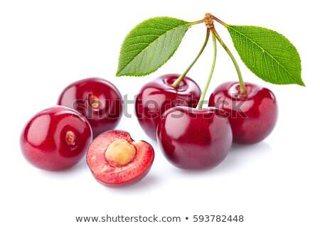 ecológico · cerejas · branco · fundo · vermelho - foto stock © luiscar