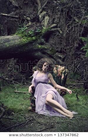 Portrait of a woman wearing a seersucker dress Stock photo © konradbak