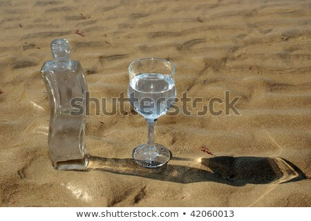 curvy glass bottle on the beach Stock photo © morrbyte