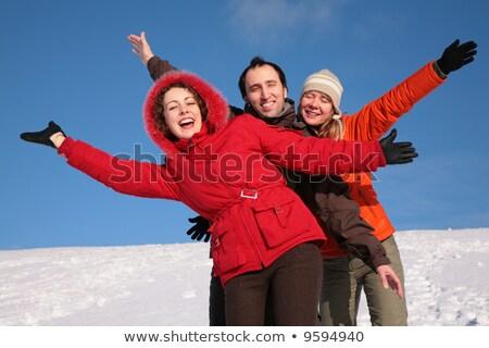 Csoport barátok mozgás kezek tél domboldal Stock fotó © Paha_L