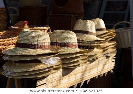 дешево соломенной шляпе синий лет Сток-фото © Stocksnapper