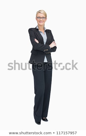 mosolyog · fiatal · szőke · nő · üzlet · öltöny · egészalakos - stock fotó © darrinhenry