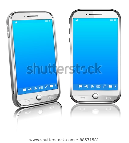 Phone Cell Smart Mobile White 3D and 2D Stock photo © fenton