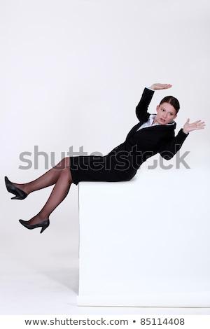 Zakenvrouw vallen achteruit Maakt een reservekopie witte reclame Stockfoto © photography33