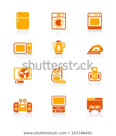 háztartási · gépek · ikonok · mosógép · teáskanna · sütő · tv - stock fotó © sahua
