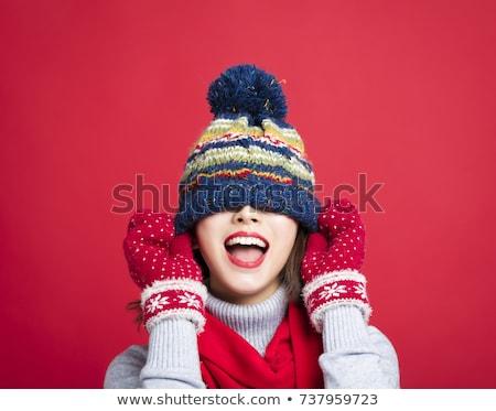 jovem · bela · mulher · vermelho · cachecol · natal · seis - foto stock © juniart