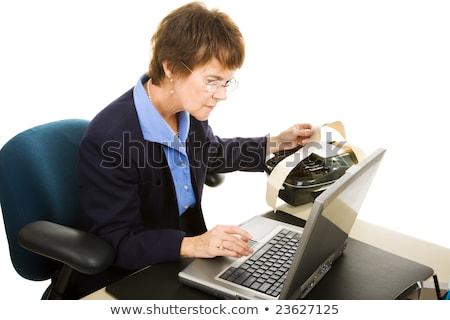 Sąd reporter zauważa laptop odizolowany biały Zdjęcia stock © lisafx