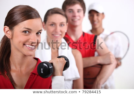 Four young people and their preferred forms of exercise Stock photo © photography33
