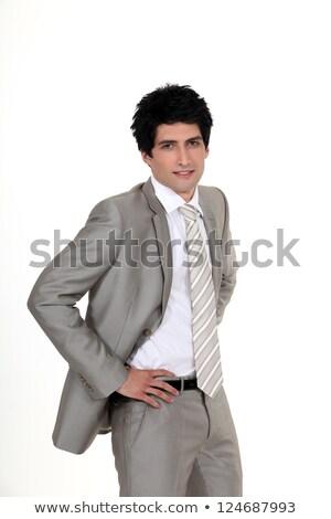 Portré stílusos üzletember kezek pihen derék Stock fotó © photography33