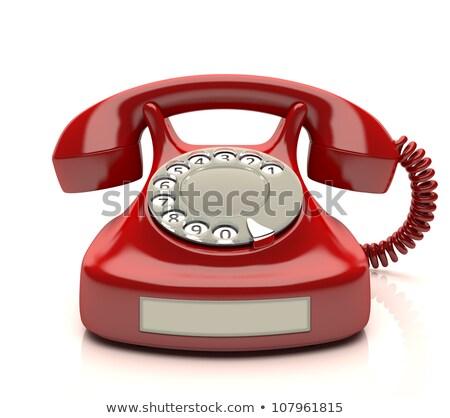 Kırmızı telefon etiket boş numara kablo Stok fotoğraf © idesign