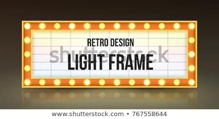 retro illuminated movie marquee blank sign stock photo © m_pavlov