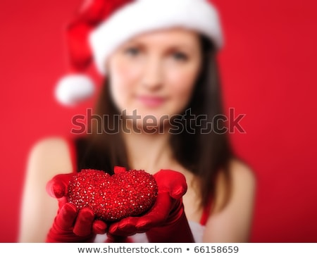 Рождества · деловой · женщины · Hat · подарки · Постоянный - Сток-фото © oleksandro
