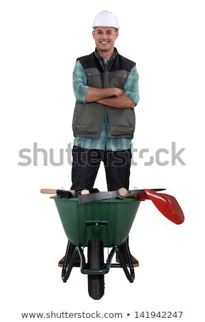 Férfi ásó talicska otthon kert háttér Stock fotó © photography33