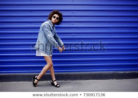 jas · textuur · ontwerp · Blauw - stockfoto © gromovataya