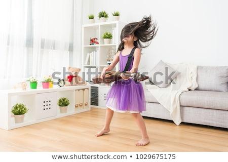 jonge · glimlachend · meisje · gitaar · geïsoleerd · witte - stockfoto © dolgachov