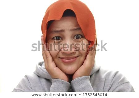 Femme toucher joue souriant caméra visage Photo stock © wavebreak_media