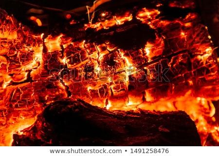 燃焼 · 木材 · 石炭 · 暖炉 · クローズアップ · ホット - ストックフォト © EwaStudio