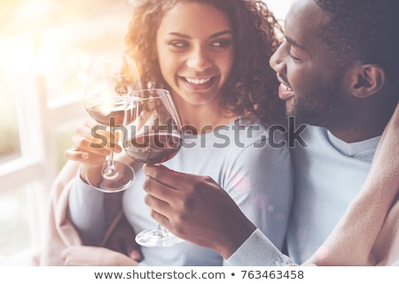 couple drinking wine in the cafe stock photo © massonforstock