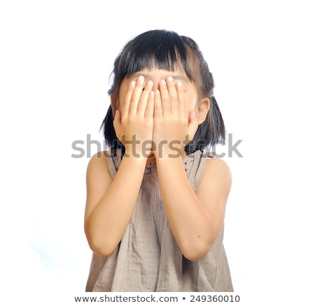 Little girl hide her face with fingers Stock photo © lunamarina