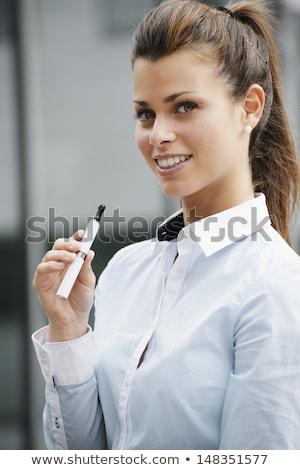 nő · dohányzás · elektronikus · cigaretta · közelkép · arc - stock fotó © diego_cervo