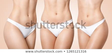 Foto stock: Esbelto · mujer · blanco · ropa · interior · tomados · de · las · manos