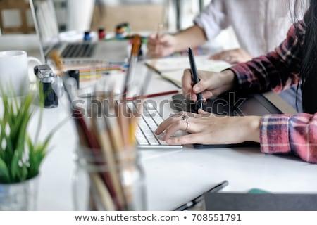 Stylus grafika tabletta valaki iroda munka Stock fotó © nito