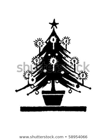 Vintage рождественская елка свечей изолированный белый Сток-фото © danny_smythe