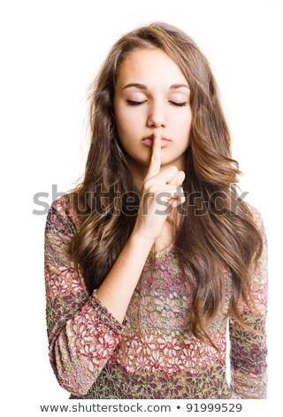 Mujer silencio signo Foto stock © feedough