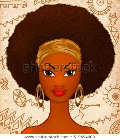 Stockfoto: Brunette · mooie · haren · zwarte · hiëroglief · vrouw