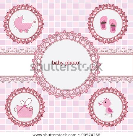 Photo frame with gift box and girl dummy Stock photo © karandaev
