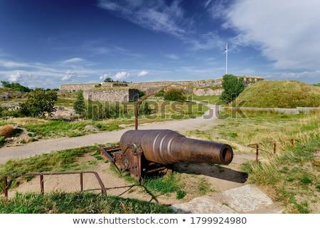 Oude kanon geïsoleerd witte pistool wiel Stockfoto © Givaga