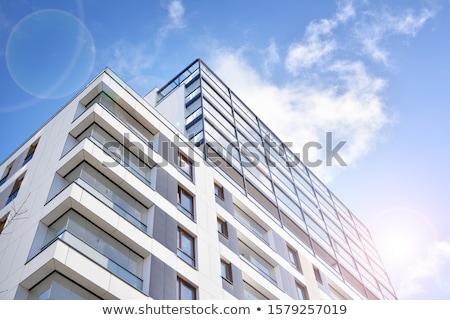 új · fehér · lakás · ház · kék · ég · Berlin - stock fotó © meinzahn