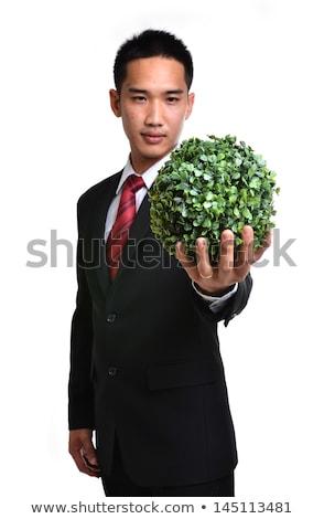 Man toekomst eco groene energie geïsoleerd achtergrond Stockfoto © anan