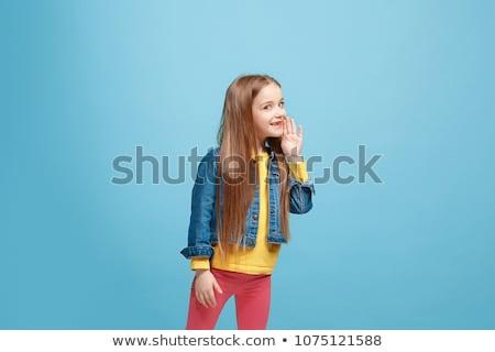 mosolyog · lányok · tökéletes · fehér · fogak · szeretet · haj - stock fotó © godfer