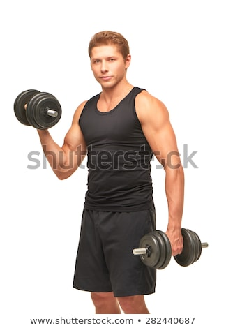 Athletic man pumping up muscles dumbbells Stock photo © HASLOO