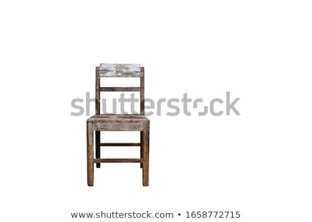 Stockfoto: Houten · stoel · witte · huis · hout · ontwerp · home