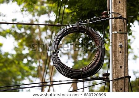 Aerial High Voltage Cable : Légi · elektromos erő kábel Ázsia stock fotó