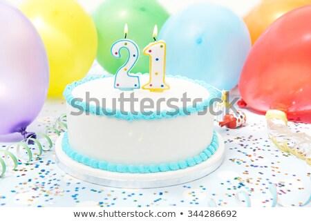 Birthday cake with burning candle number 24 Stock photo © Zerbor