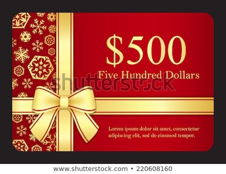 Rood gift card gouden sneeuwvlokken lint goud Stockfoto © liliwhite