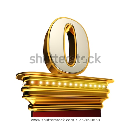 Number Zero on a golden platform over white Stock photo © creisinger