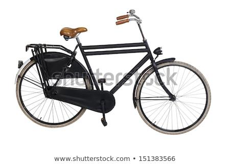öreg · fekete · bicikli · fém · keret · bicikli - stock fotó © hofmeester