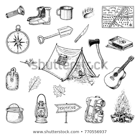 Sketch camping set in vintage style stock photo © kali